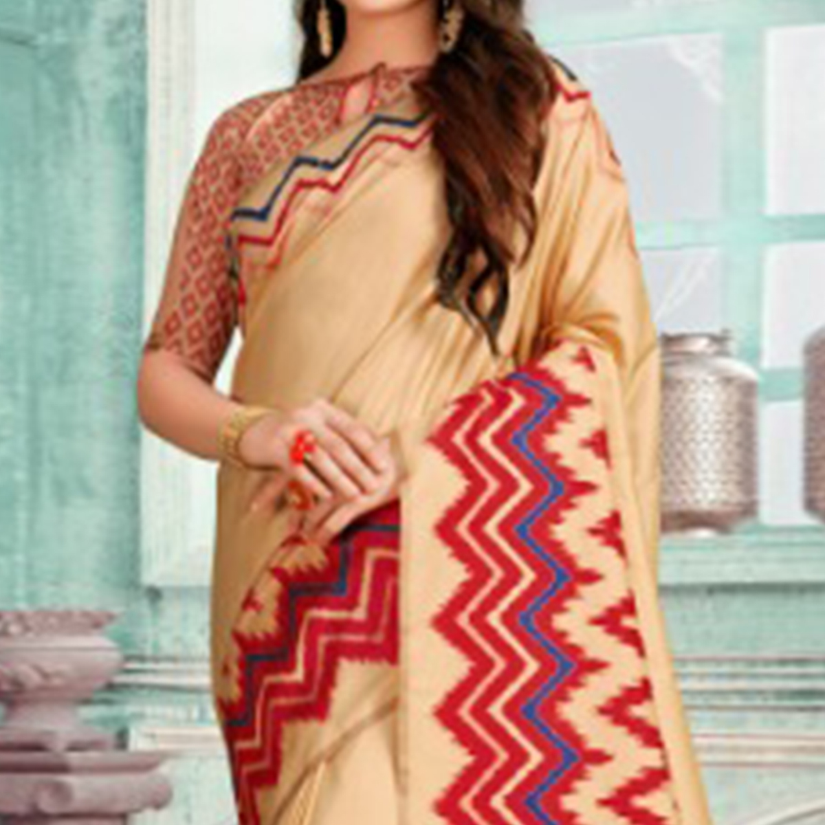 Lovely Beige-Red Colored Festive Wear Printed Cotton Silk Saree With Tassels