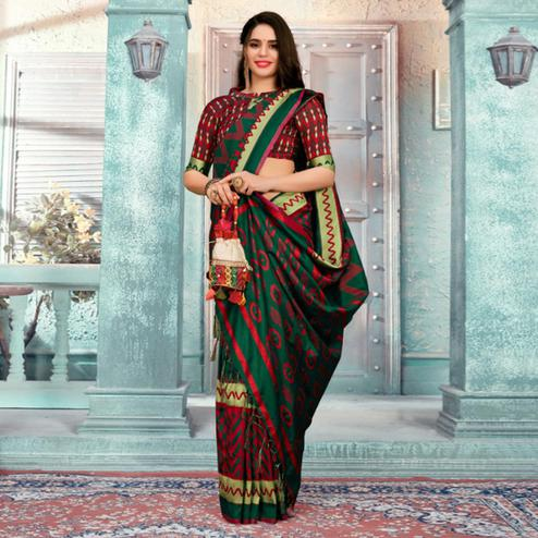 Majesty Green Colored Festive Wear Printed Cotton Silk Saree With Tassels