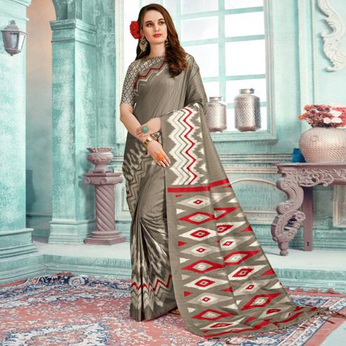 Glowing Grey Colored Festive Wear Printed Cotton Silk Saree With Tassels
