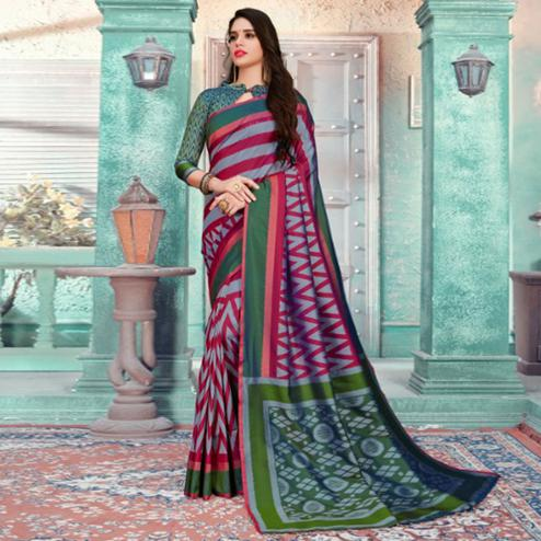 Exotic Grey-Maroon Colored Festive Wear Printed Cotton Silk Saree With Tassels