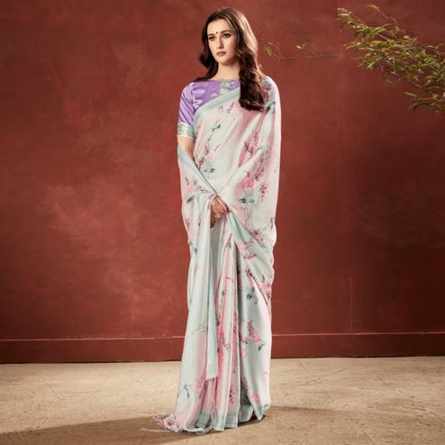 Amazing Pink-Grey Colored Casual Wear Printed Satin Crepe Saree With Tassels