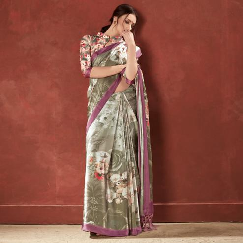 Gorgeous Grey Colored Casual Wear Printed Satin Crepe Saree With Tassels