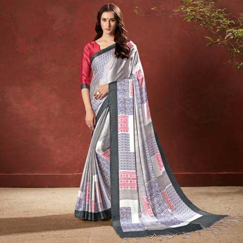 Blissful Grey Colored Casual Wear Printed Satin Crepe Saree With Tassels