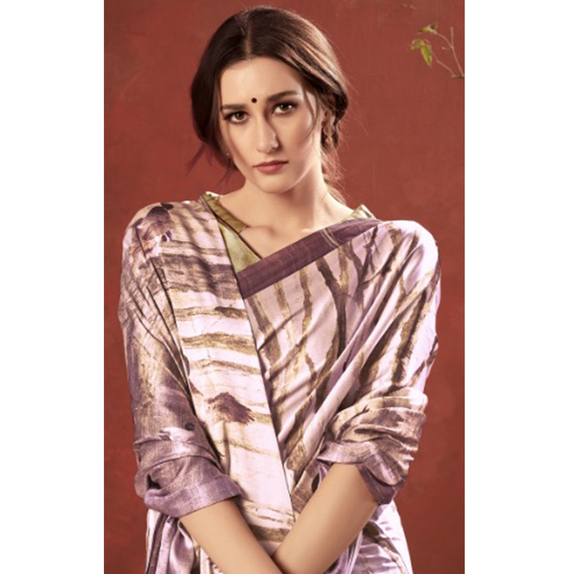 Ideal Mauve Colored Casual Wear Printed Satin Crepe Saree With Tassels
