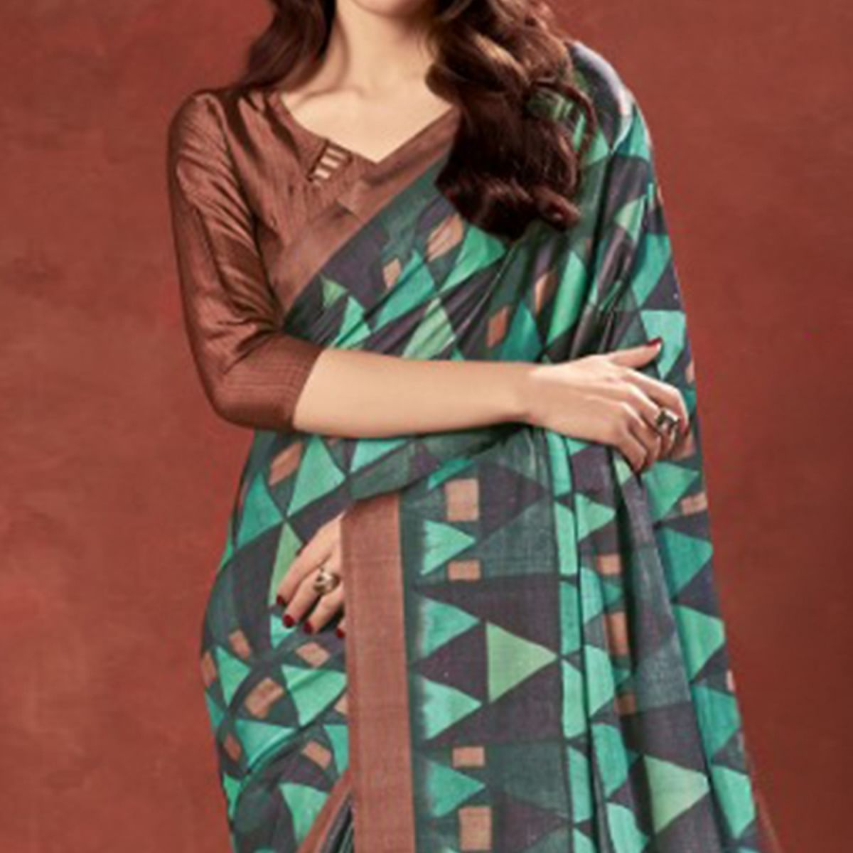 Imposing Multi Colored Casual Wear Printed Satin Crepe Saree With Tassels