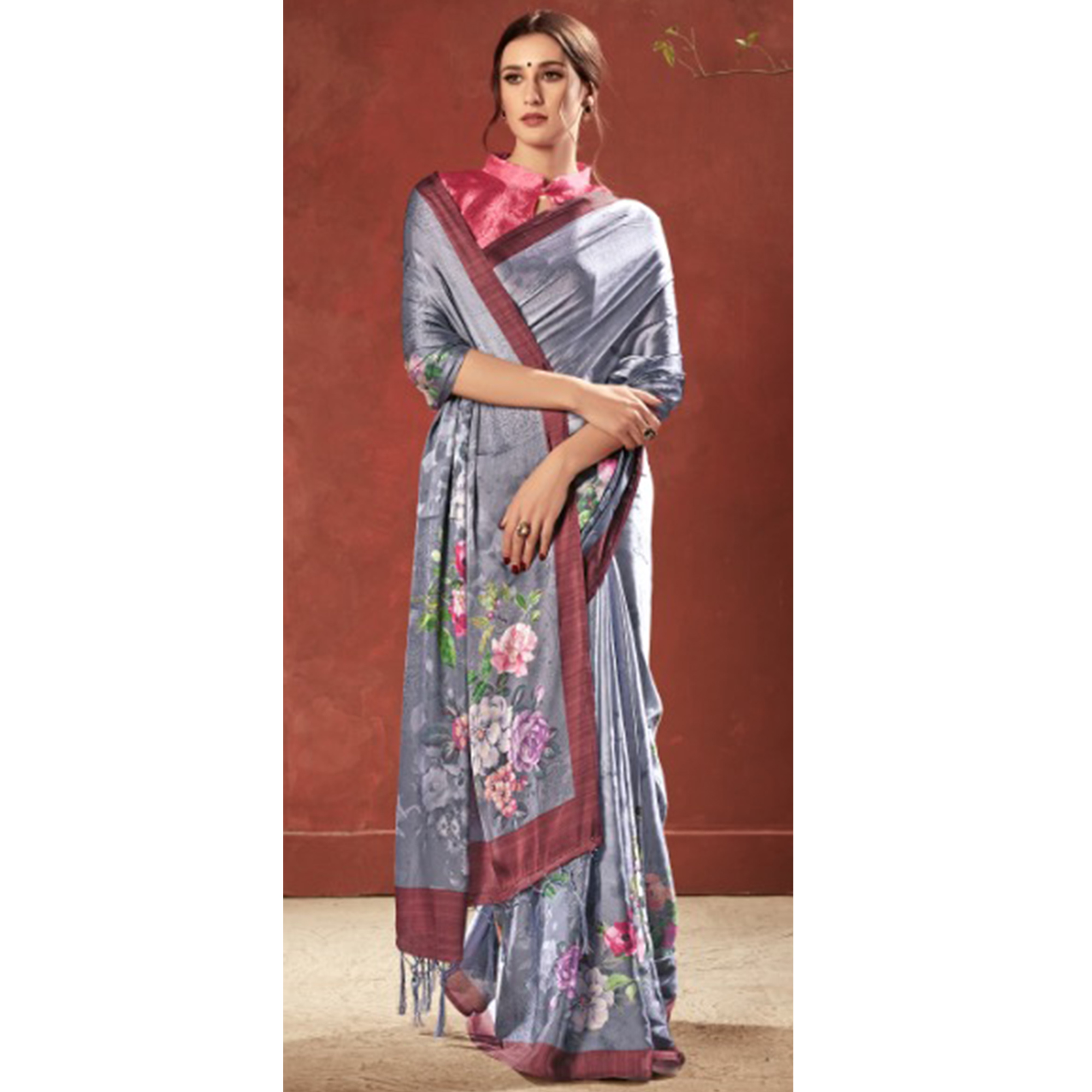 Lovely Grey Colored Casual Wear Printed Satin Crepe Saree With Tassels