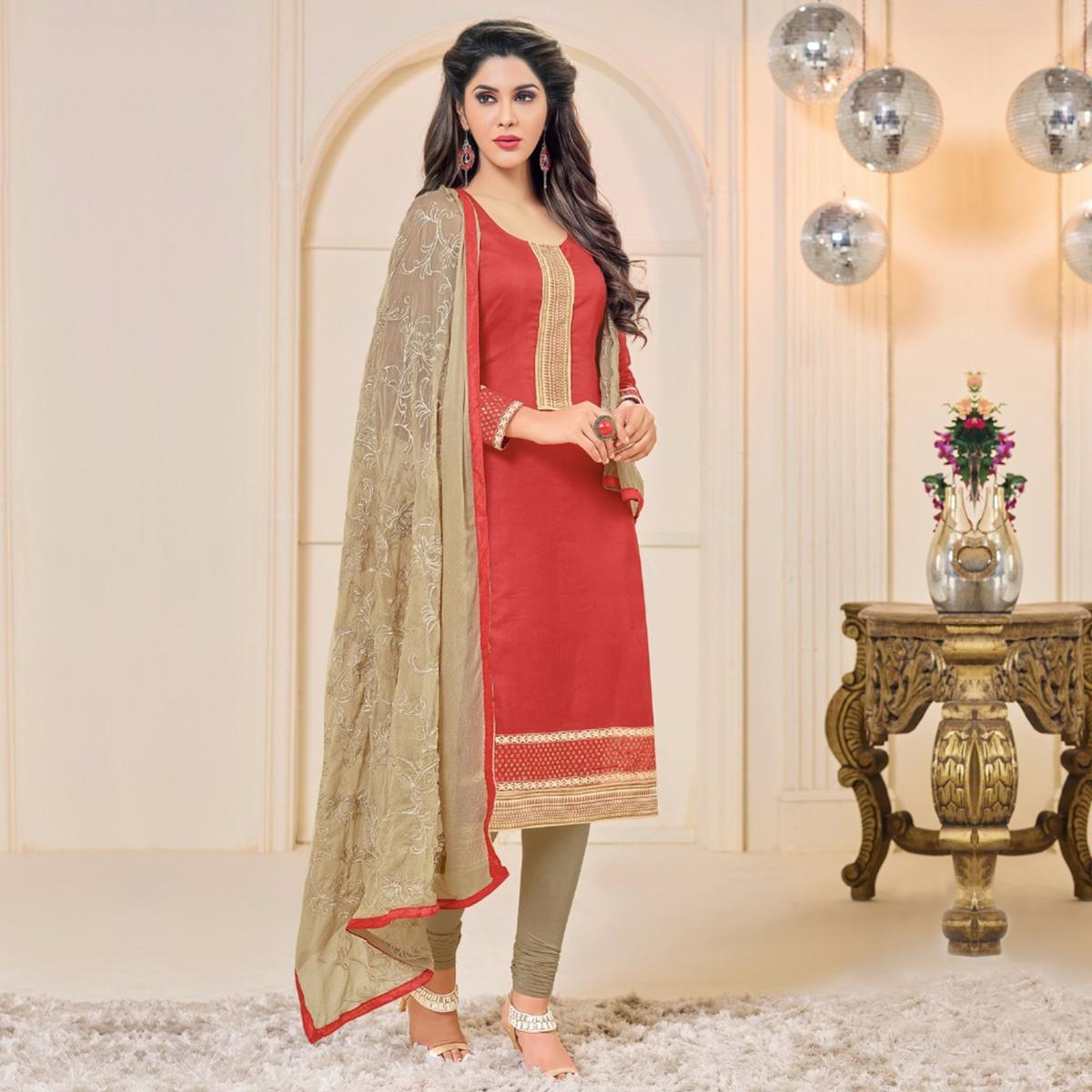 Red Embroidered Work Chanderi Suit