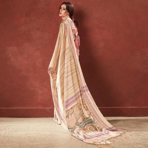 Majesty Cream Colored Casual Wear Printed Satin Crepe Saree With Tassels