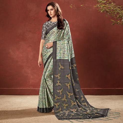 Impressive Green Colored Casual Wear Printed Satin Crepe Saree With Tassels