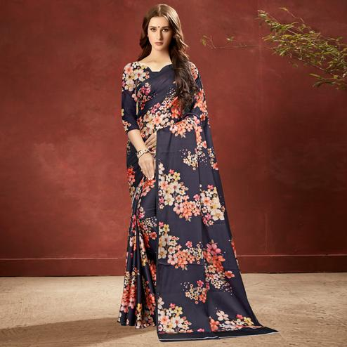 Unique Navy Blue Colored Casual Wear Printed Satin Crepe Saree With Tassels