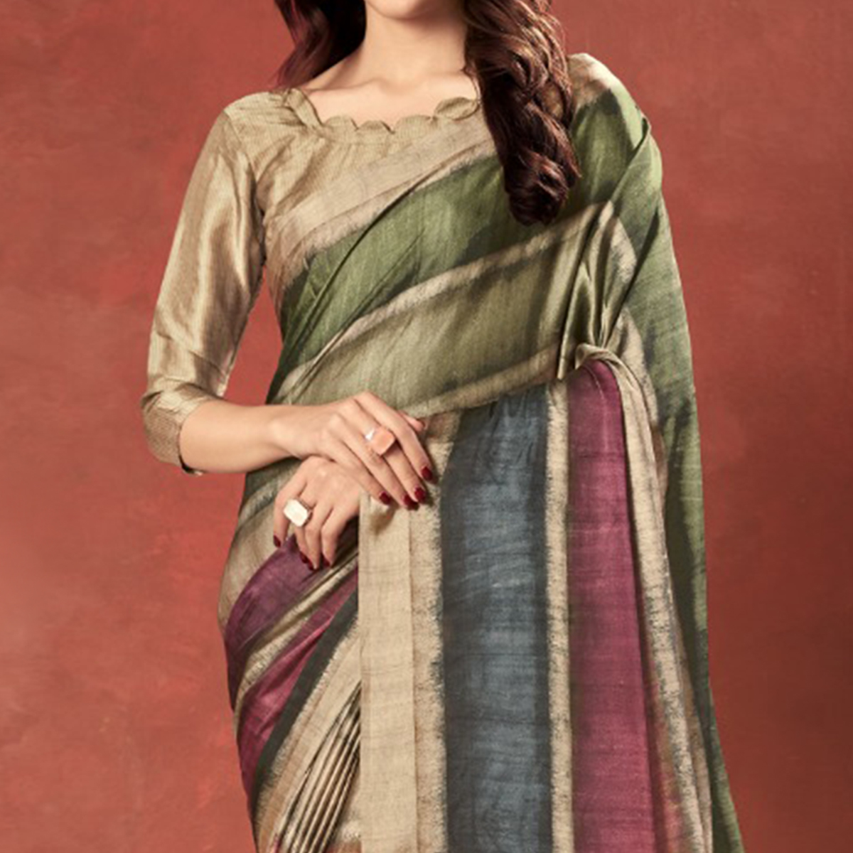 Gleaming Multi Colored Casual Wear Printed Satin Crepe Saree With Tassels