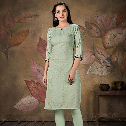 Exceptional Light Green Colored Casual Embroidered Cotton Kurti