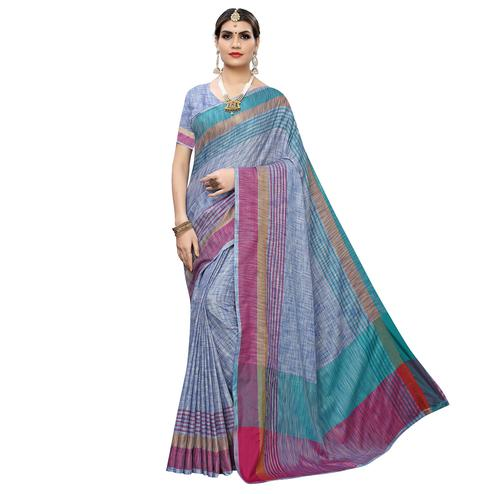 Fantastic Blue Colored Casual Wear Linen Saree