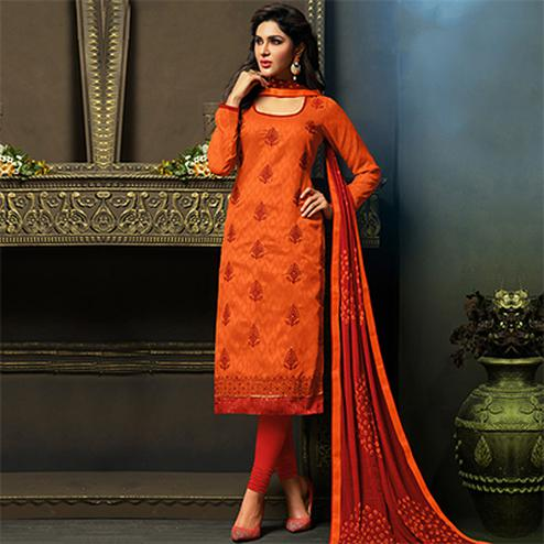 Orange Embroidered Work Salwar Suit