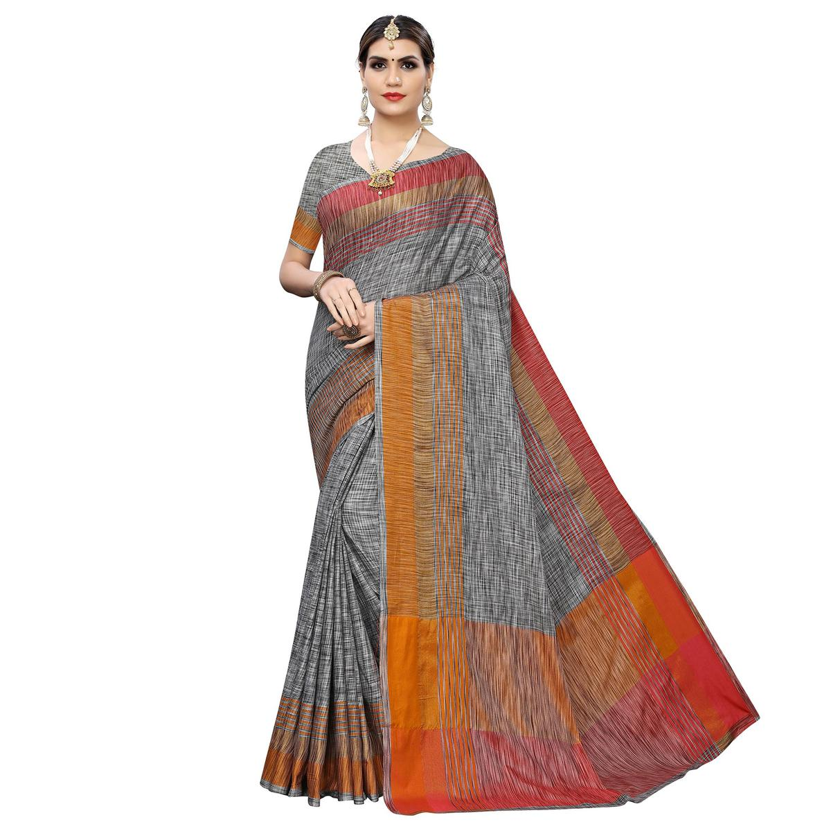 Amazing Grey Colored Casual Wear Linen Saree