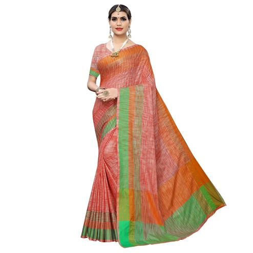 Gorgeous Orange Colored Casual Wear Linen Saree