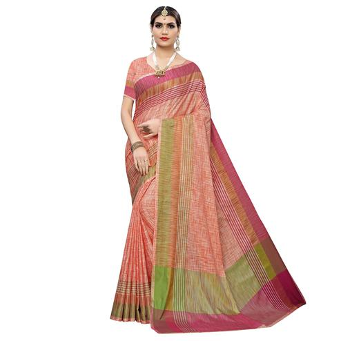 Blissful Peach Colored Casual Wear Linen Saree