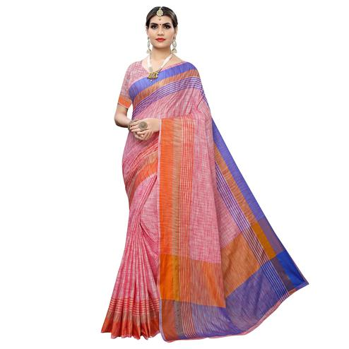 Imposing Ideal Pink Colored Casual Wear Linen Saree