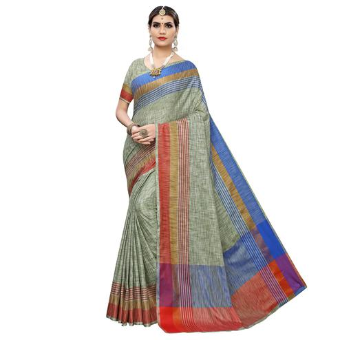 Unique Pista Green Colored Casual Wear Linen Saree