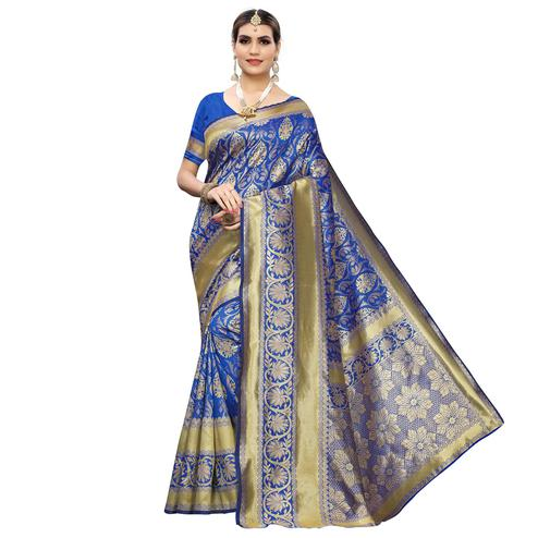 Flattering Blue Colored Festive Wear Woven Banarasi Silk Saree