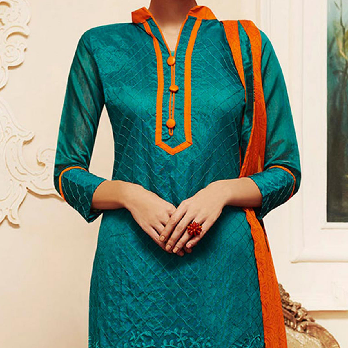 Teal Green - Orange Chanderi Suit