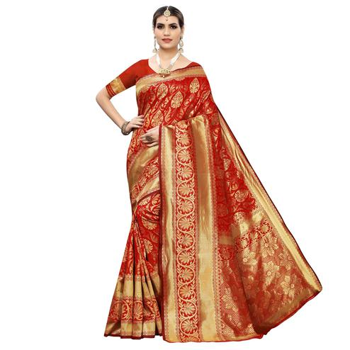 Innovative Red Colored Festive Wear Woven Banarasi Silk Saree