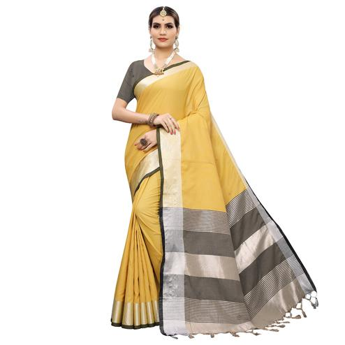 Adorable Yellow-Black Colored Festive Wear Woven Linen Saree With Tassles