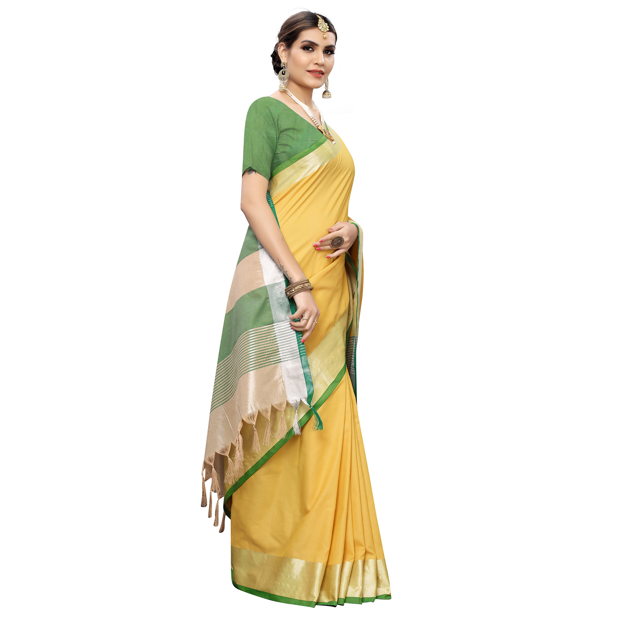 Glorious Yelllow-Green Colored Festive Wear Woven Linen Saree With Tassles