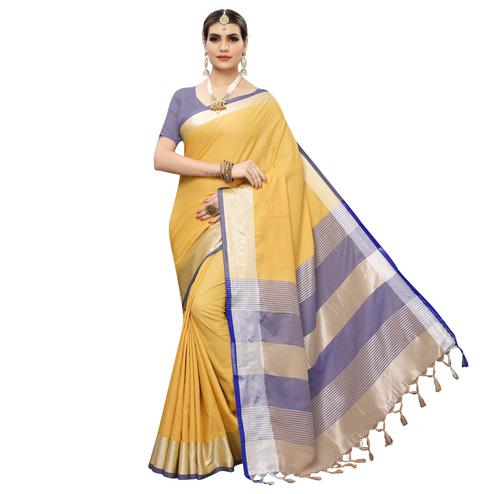 Attractive Yellow-Purple Colored Festive Wear Woven Linen Saree With Tassles