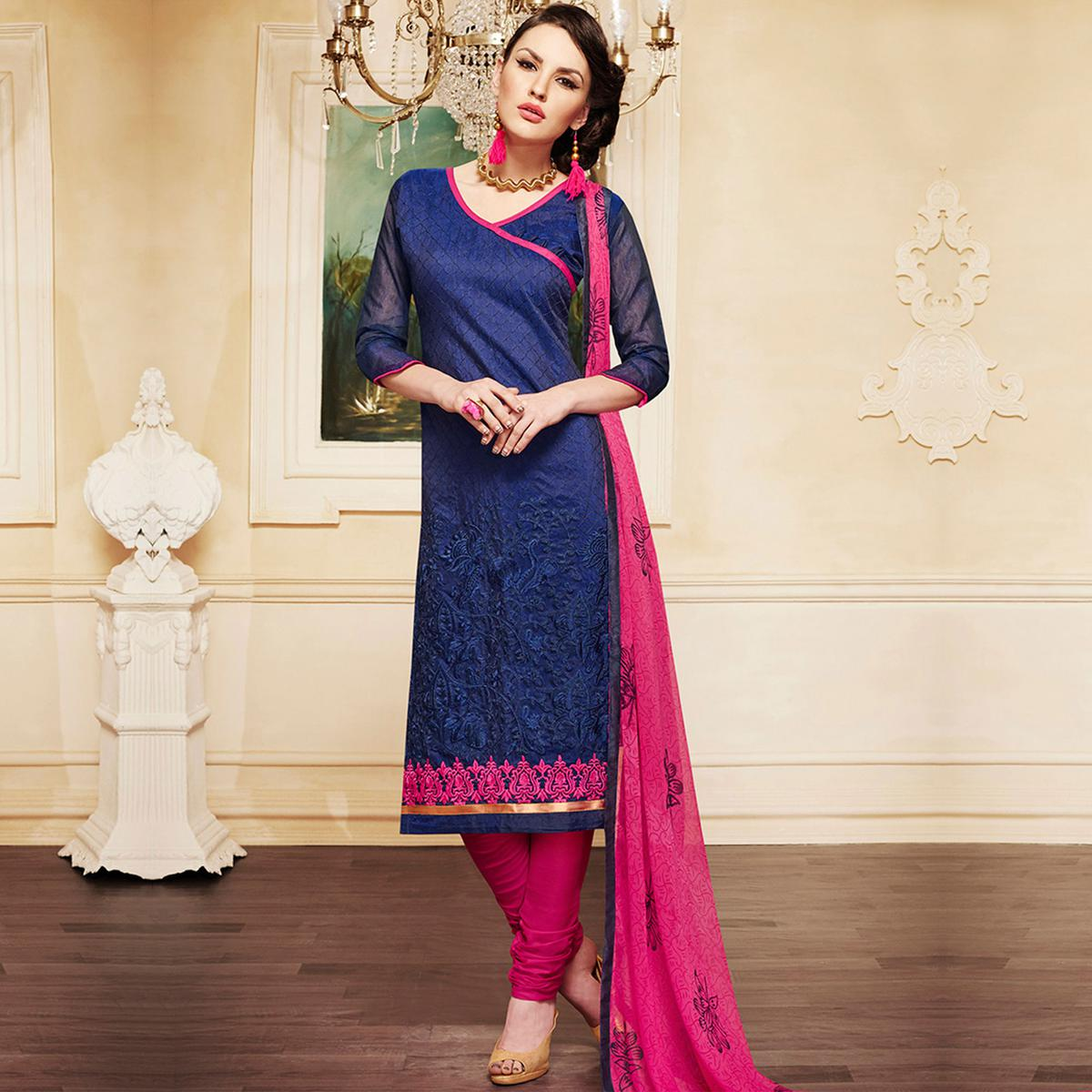 Ink Blue - Pink Embroidered Suit