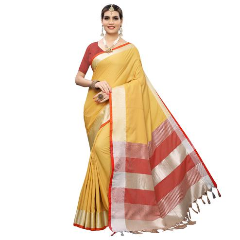 Graceful Yellow-Red Colored Festive Wear Woven Linen Saree With Tassles