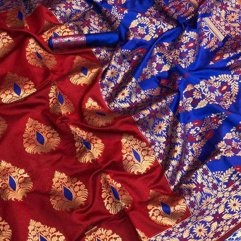 Adorable Red Colored Festive Wear Woven Silk Saree