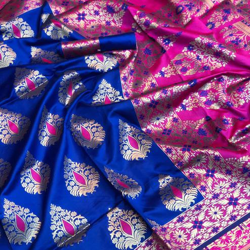 Glorious Royal Blue Colored Festive Wear Woven Silk Saree