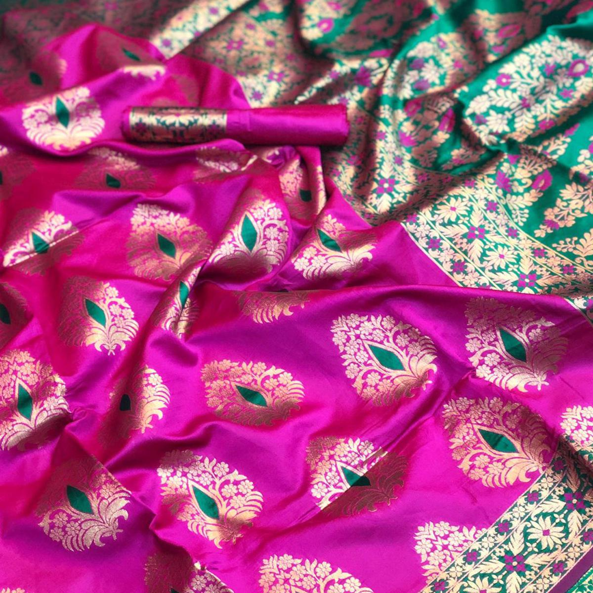Attractive Fuchsia Pink Colored Festive Wear Woven Silk Saree