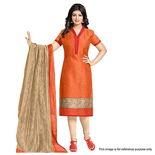 Orange Cotton Printed Salwar Suit