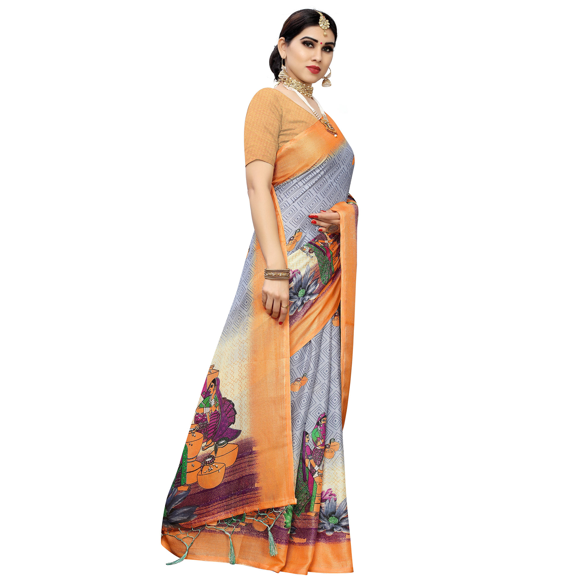 Adorable Grey-Orange Colored Casual Printed Cotton Saree With Tassels