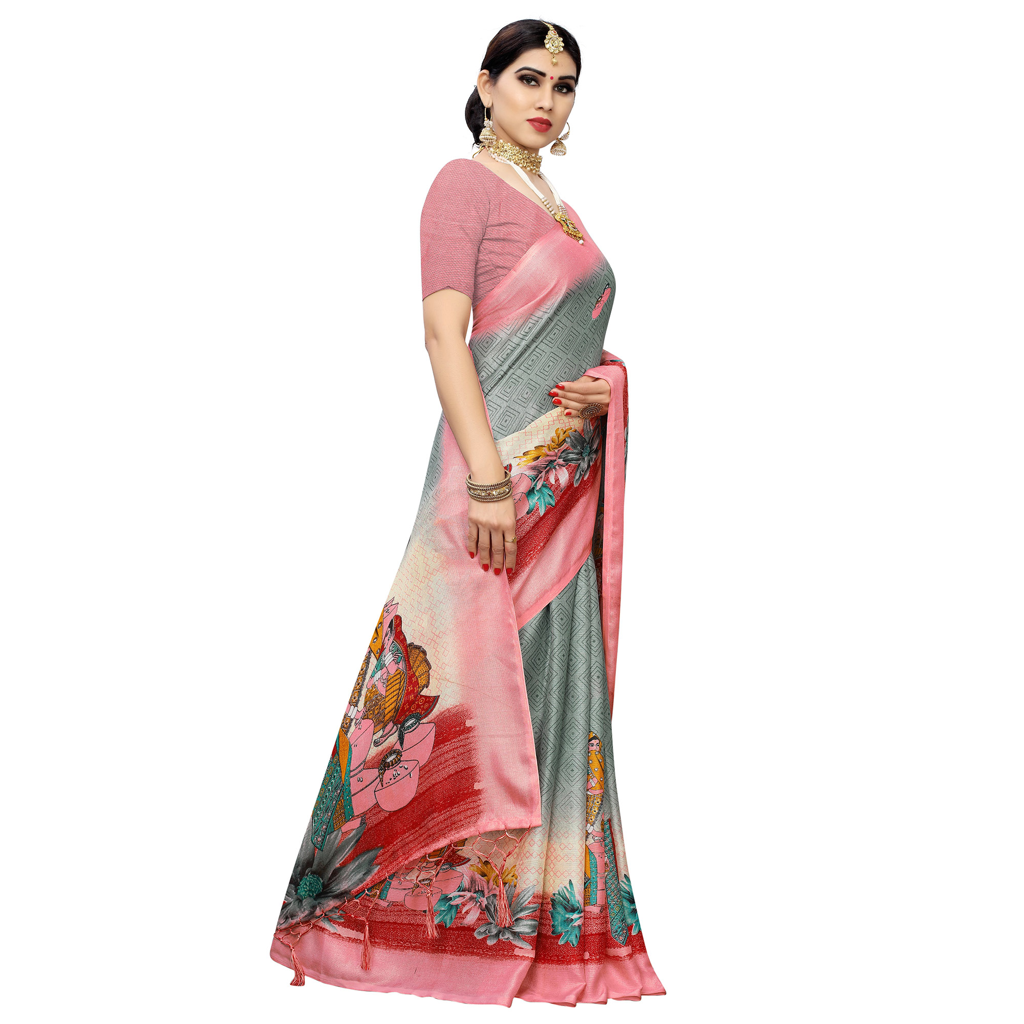 Glorious Grey-Peach Colored Casual Printed Cotton Saree With Tassels