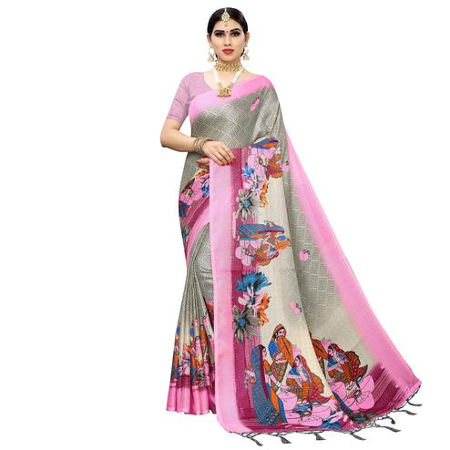 Attractive Grey-Pink Colored Casual Printed Cotton Saree With Tassels