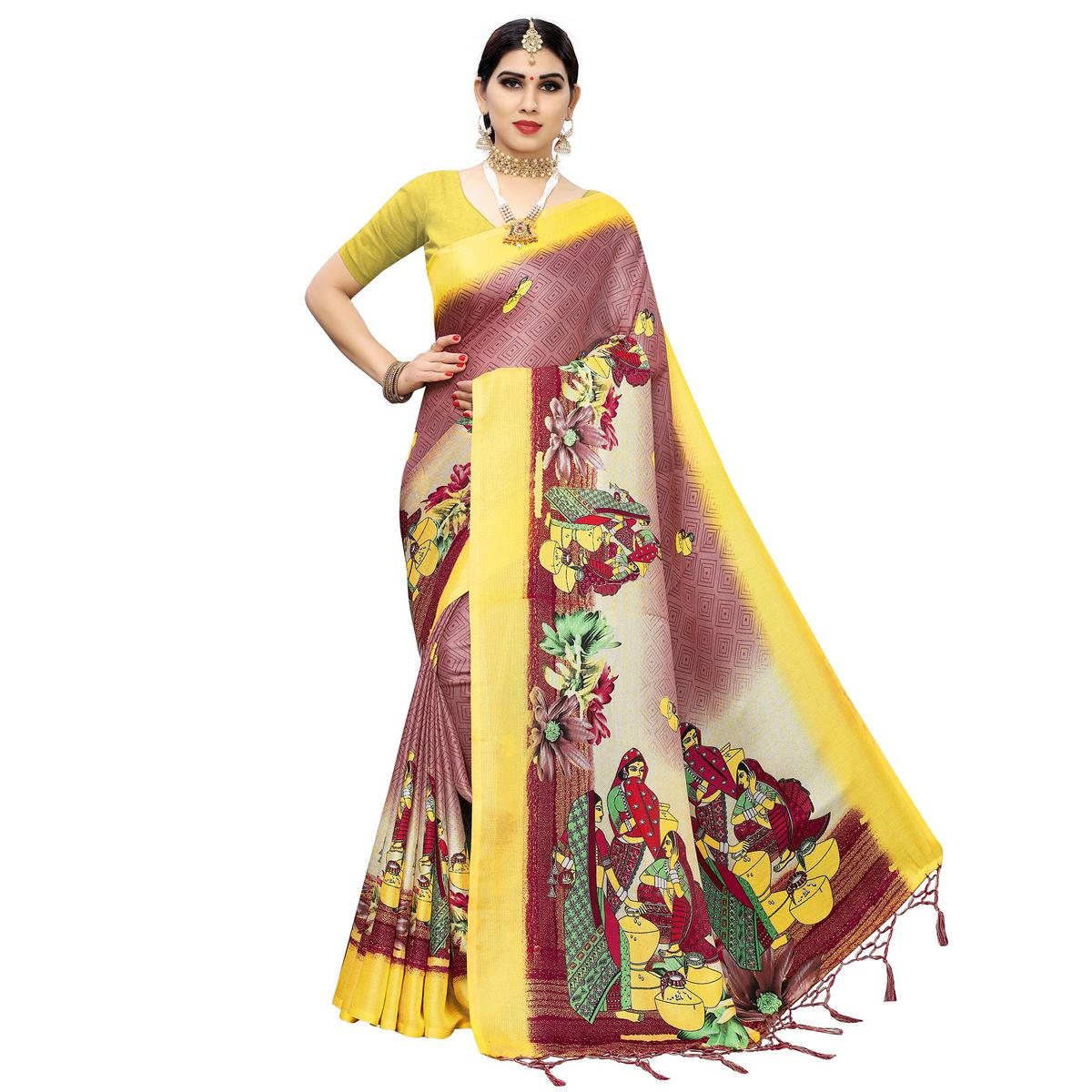 Beautiful Mauve-Yellow Colored Casual Printed Cotton Saree With Tassels