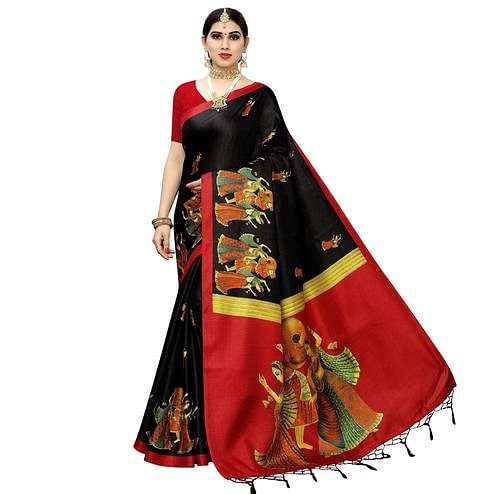 Graceful Black Colored Casual Printed Cotton Silk Saree With Tassels