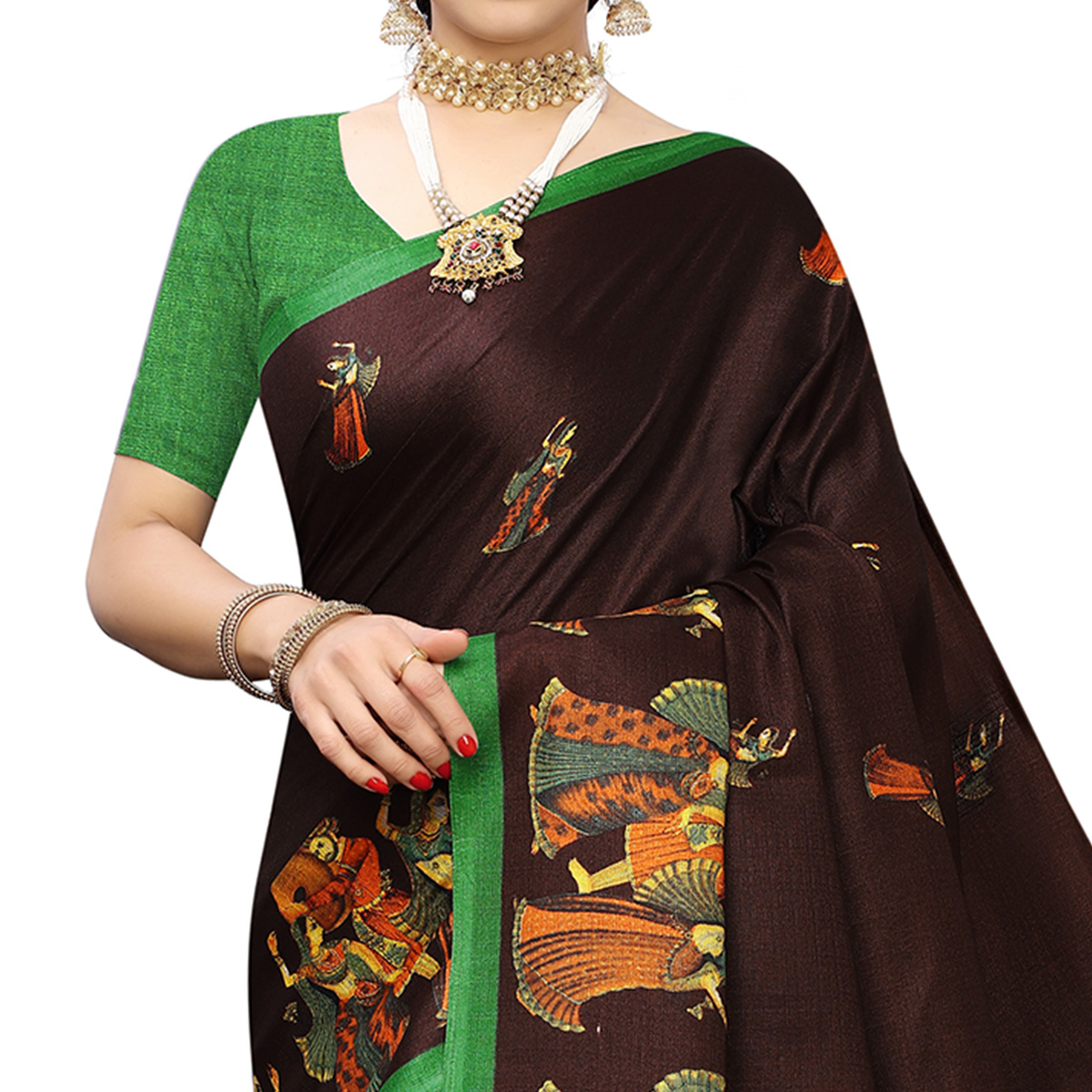 Blooming Coffee Brown Colored Casual Printed Cotton Silk Saree With Tassels