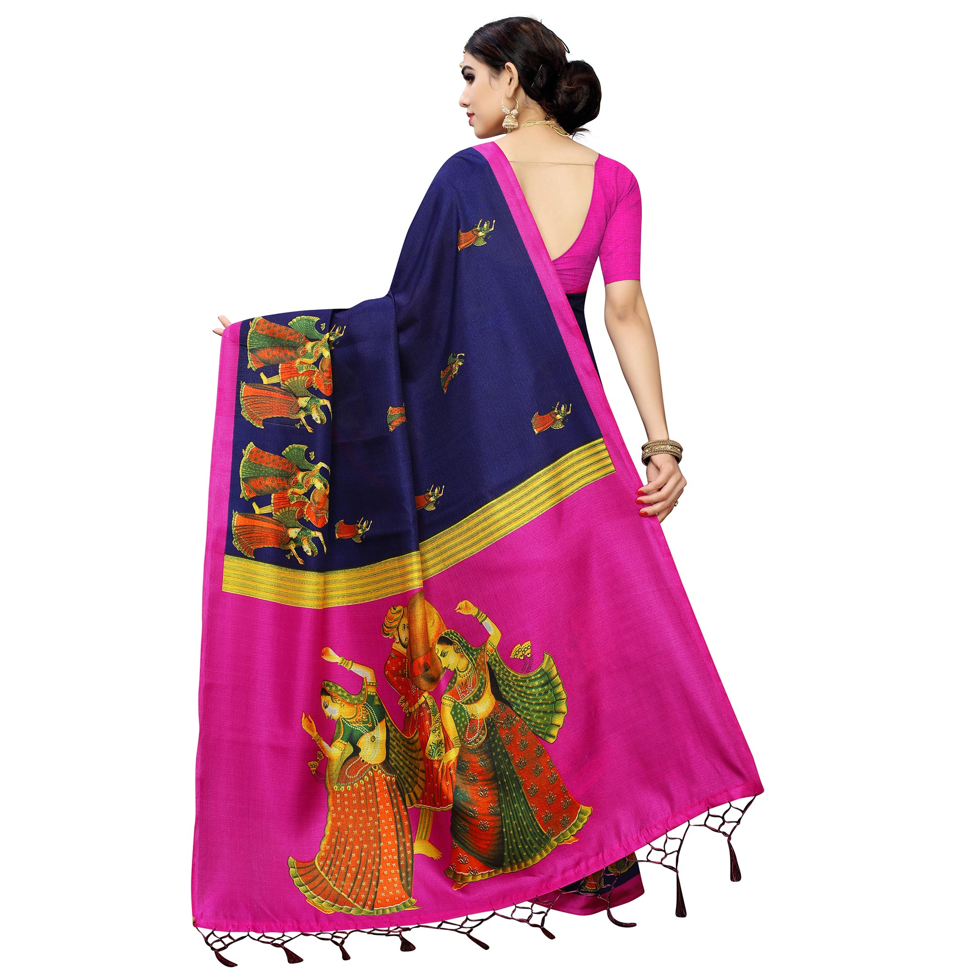 Charming Navy Blue Colored Casual Printed Cotton Silk Saree With Tassels