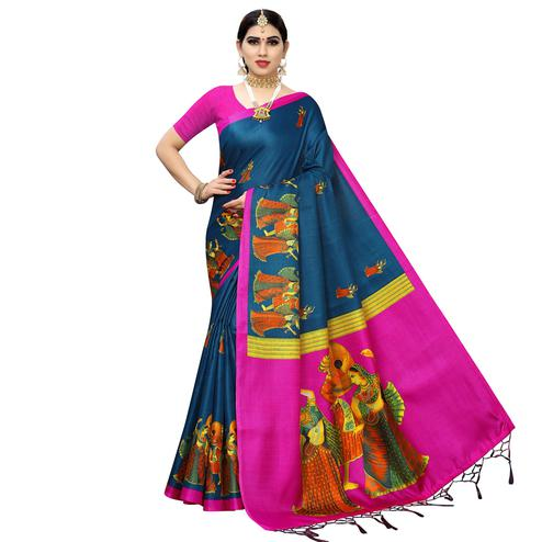 Jazzy Rama Blue Colored Casual Printed Cotton Silk Saree With Tassels