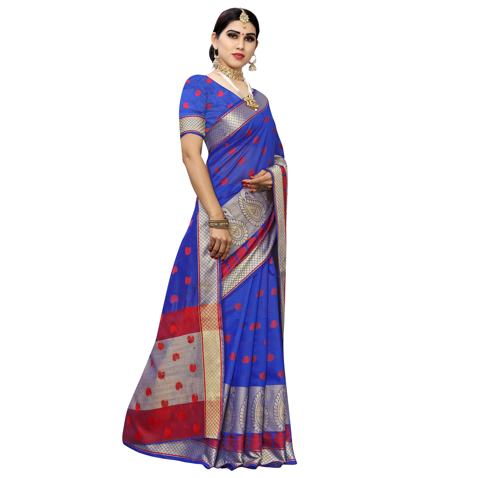 Delightful Blue Colored Festive Wear Woven Cotton Silk Saree
