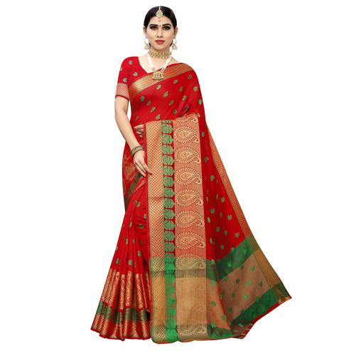 Captivating Red Colored Festive Wear Woven Cotton Silk Saree