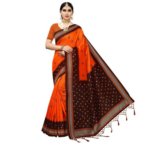 Fantastic Orange Colored Casual Printed Art Silk Saree With Tassels