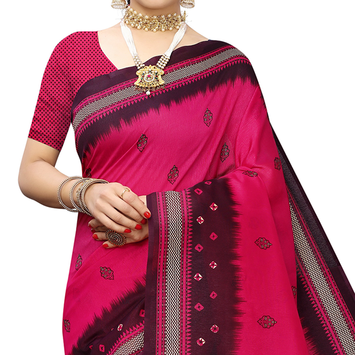 Amazing Pink Colored Casual Printed Art Silk Saree With Tassels