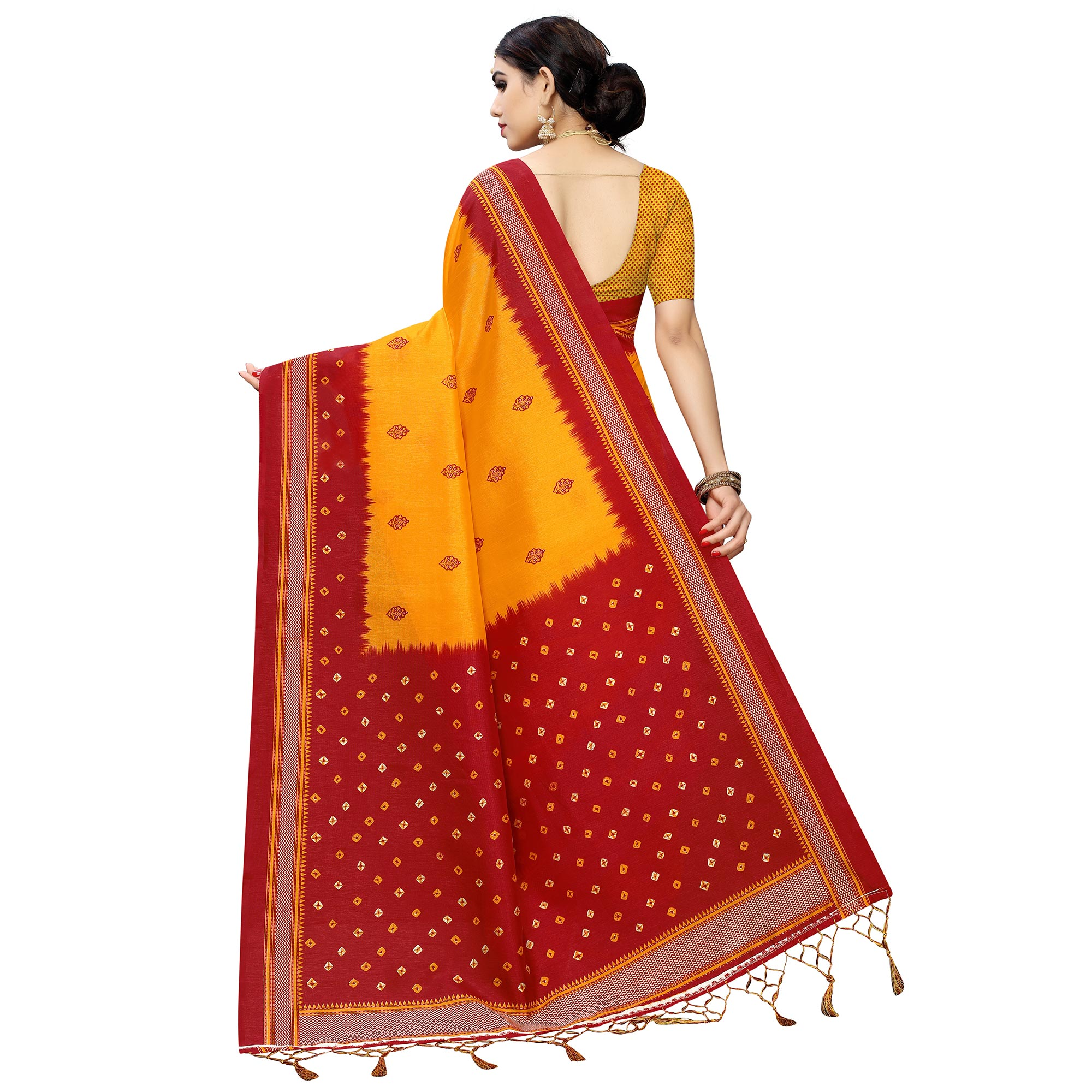 Gorgeous Yellow Colored Casual Printed Art Silk Saree With Tassels