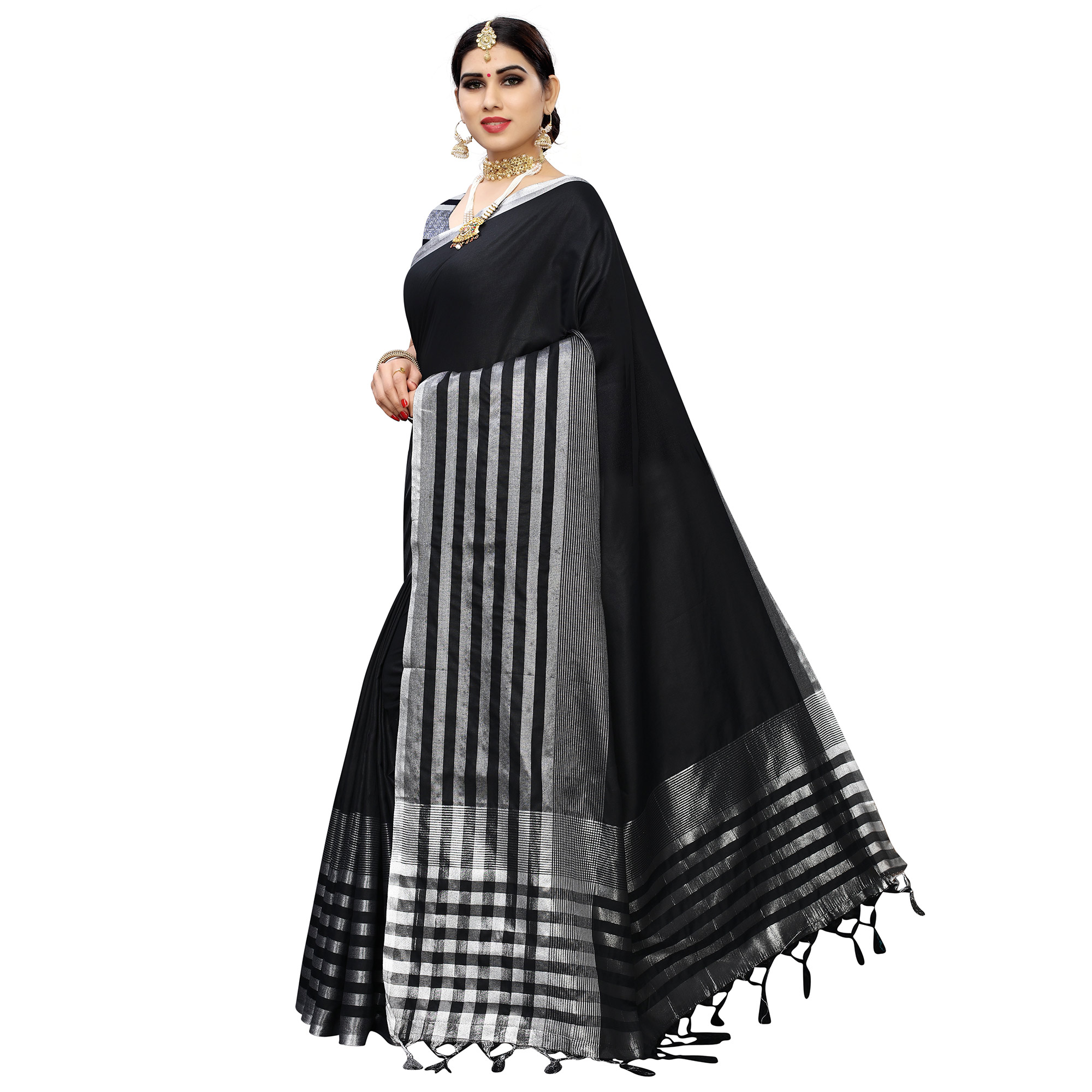 Blissful Black Colored Casual Printed Cotton Silk Saree With Tassels