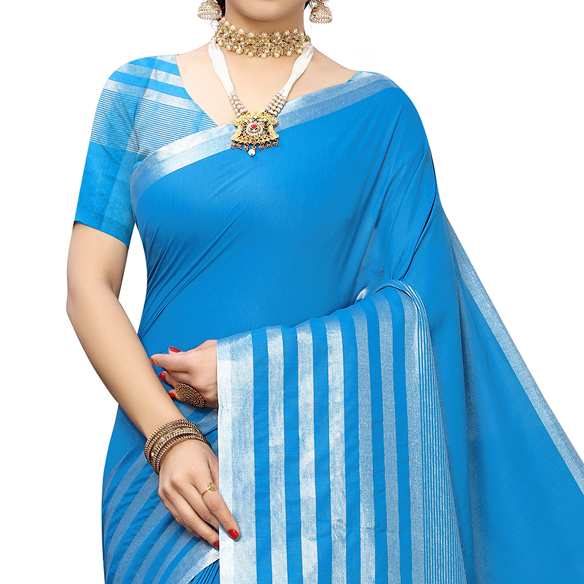 Ideal Blue Colored Casual Printed Cotton Silk Saree With Tassels